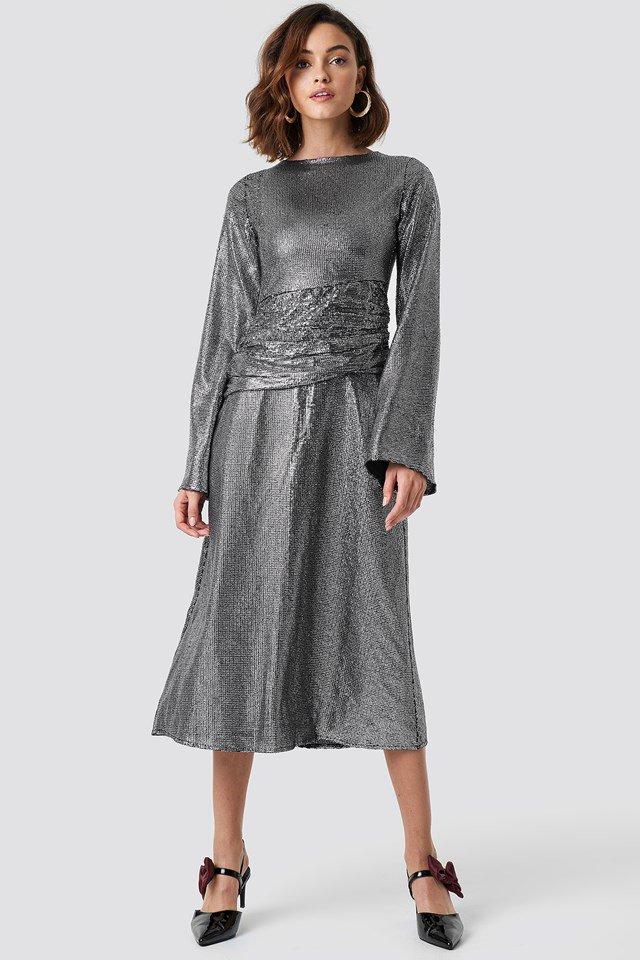 Gathering Detail Sequins Midi Dress
