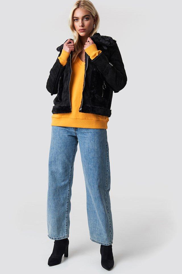 Orange V-neck Basic Sweater