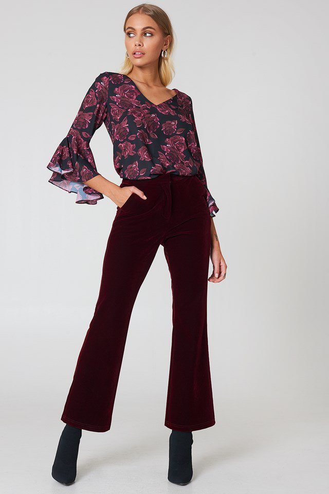 Floral and Velvet Outfit