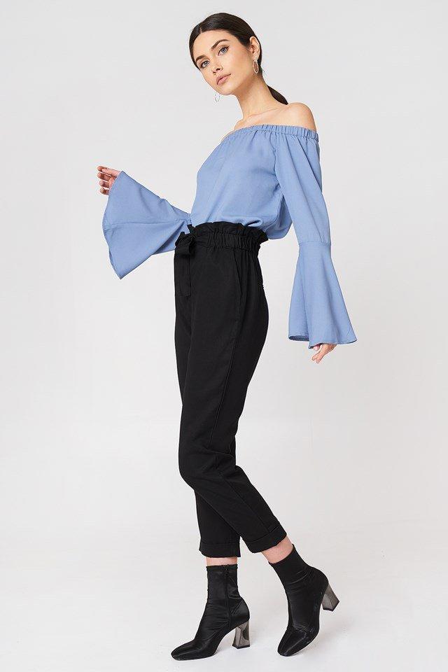 Off Shoulder Blouse X Tie Pant Outfit