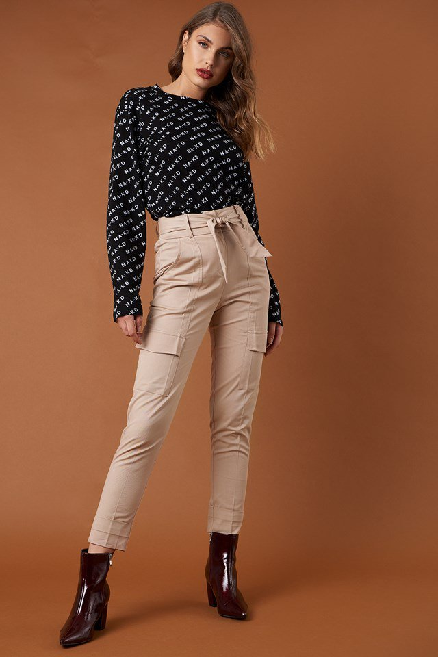 Tie Waist Patch Pocket Pants and Branded Top