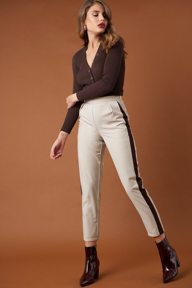 Side Stripe Fitted Pants and Ribbed Buttoned Sweater