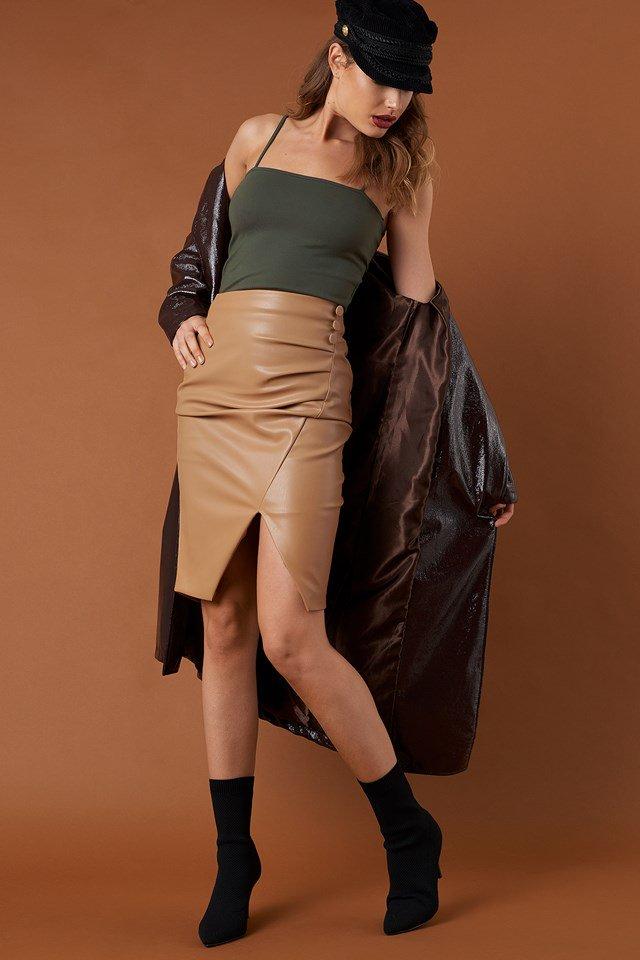 Bandeau Strap Singlet with Draped PU Skirt