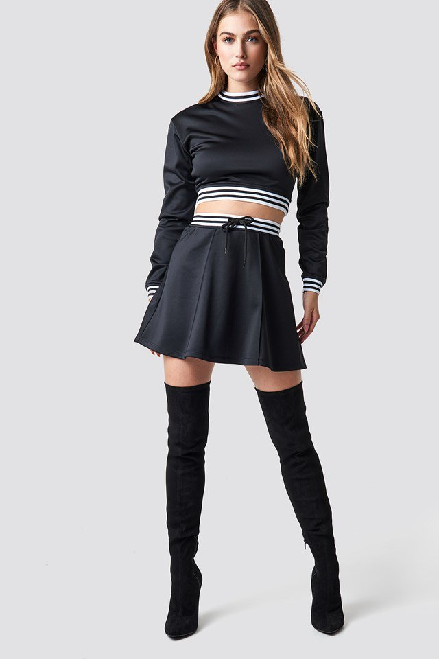 Track Skirt and Cropped Track Sweater