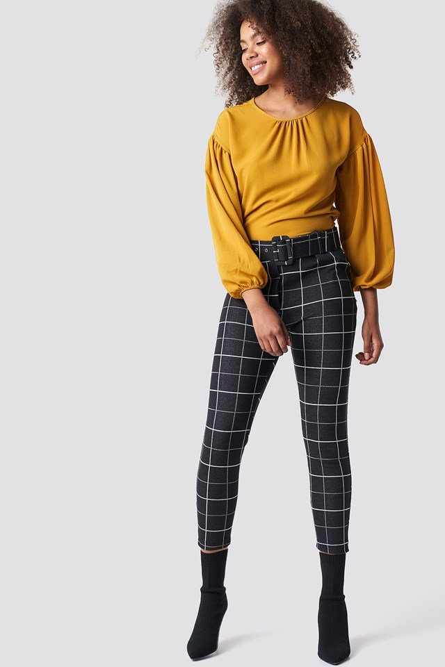 Balloon Sleeve Round Neck Blouse and Checkered Belted Pants