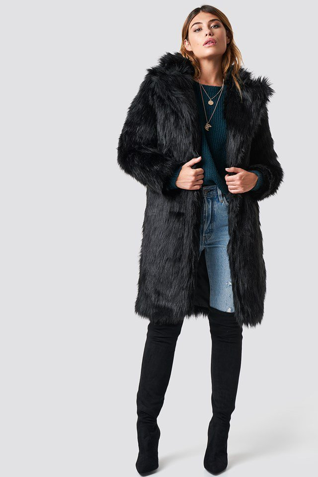 Long Faux Fur Coat Black