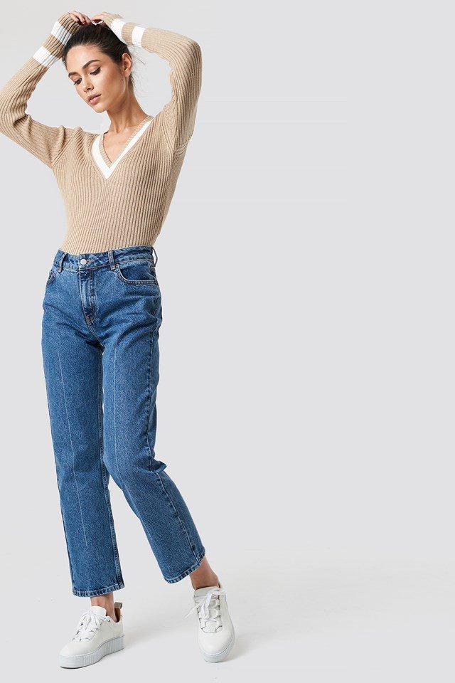 Stripe Detail V-neck Sweater