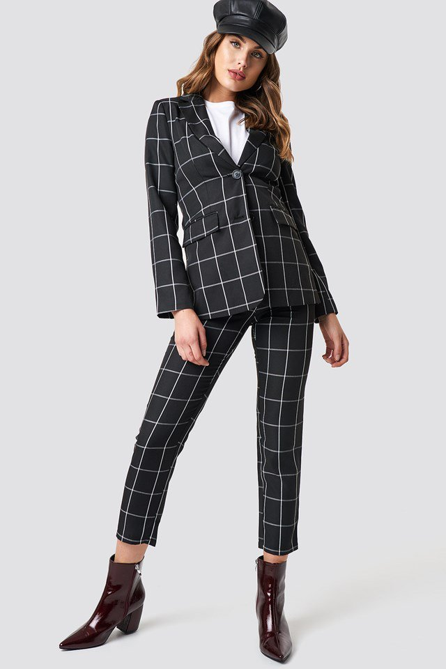 Plaid Blazer and Tailored Plaid Suit Pants