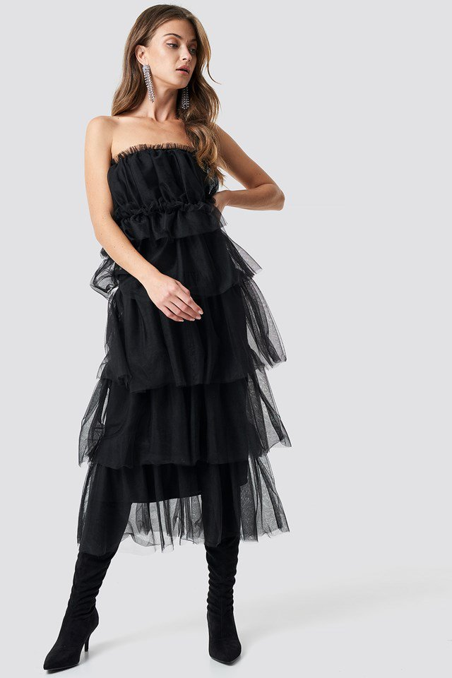 Tulle Layered Midi Dress Black Outfit