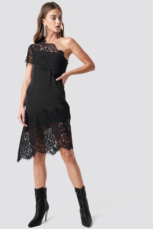 One Shoulder Lace Asymmetric Dress Black Outfit