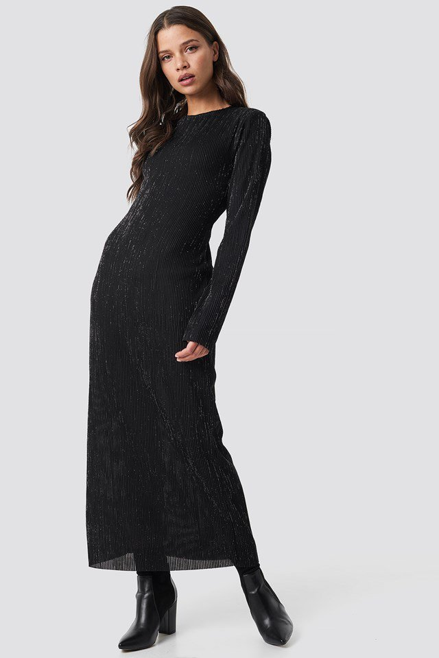 Glittery Long Dress Black Outfit