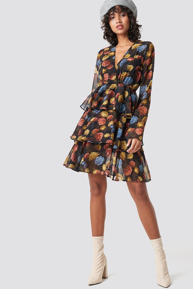 Triple Layer LS Flounce Dress Multicolor Outfit