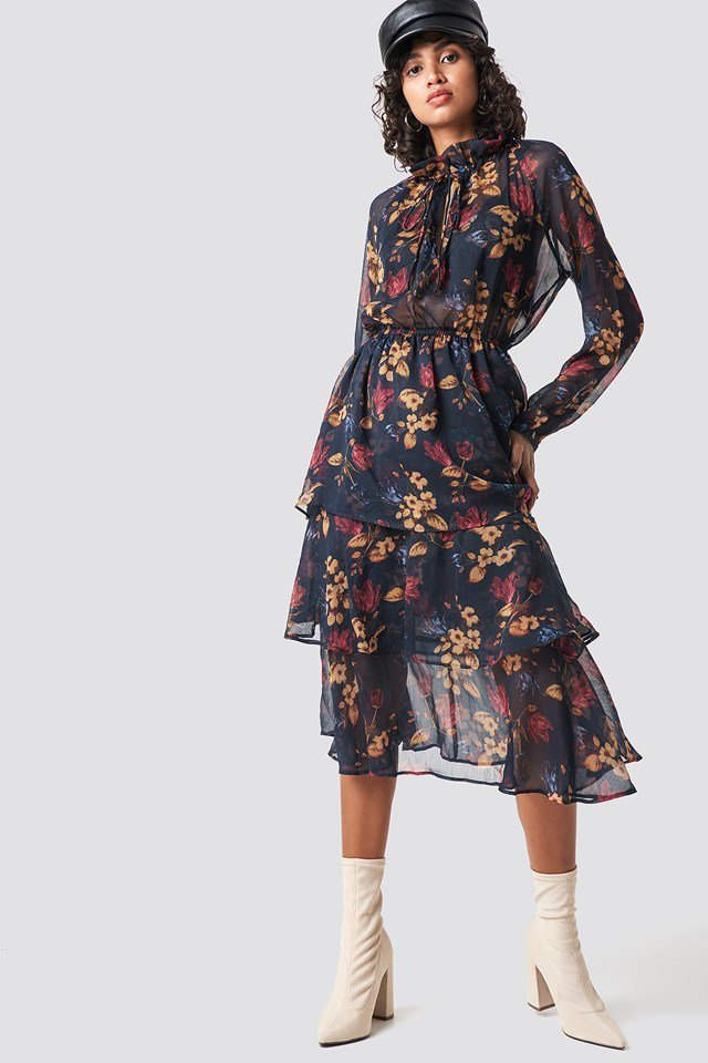 High neck frill midi dress outfit