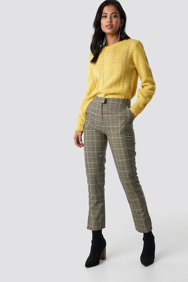 Openwork detailed knit outfit