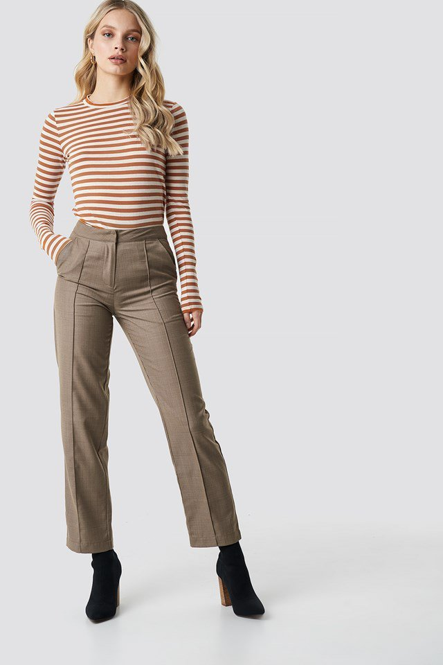 Striped long sleeve top outfit