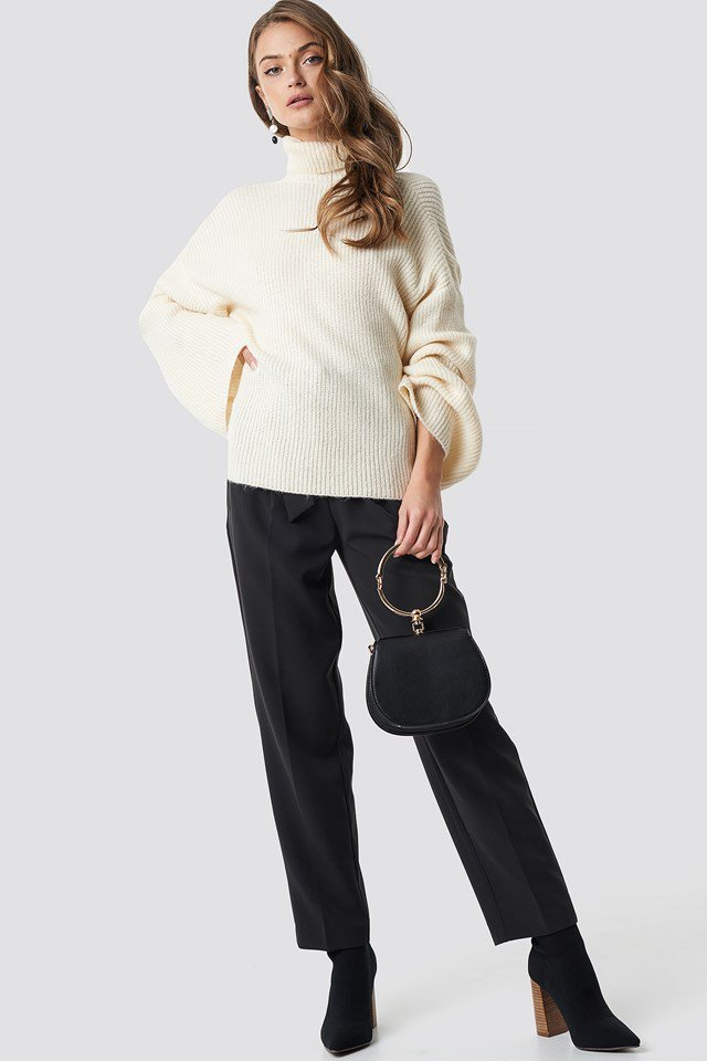 White open back overlap sweater outfit
