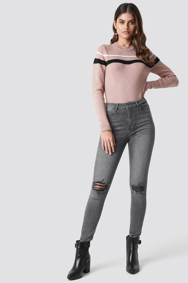 Blush striped sweater outfit