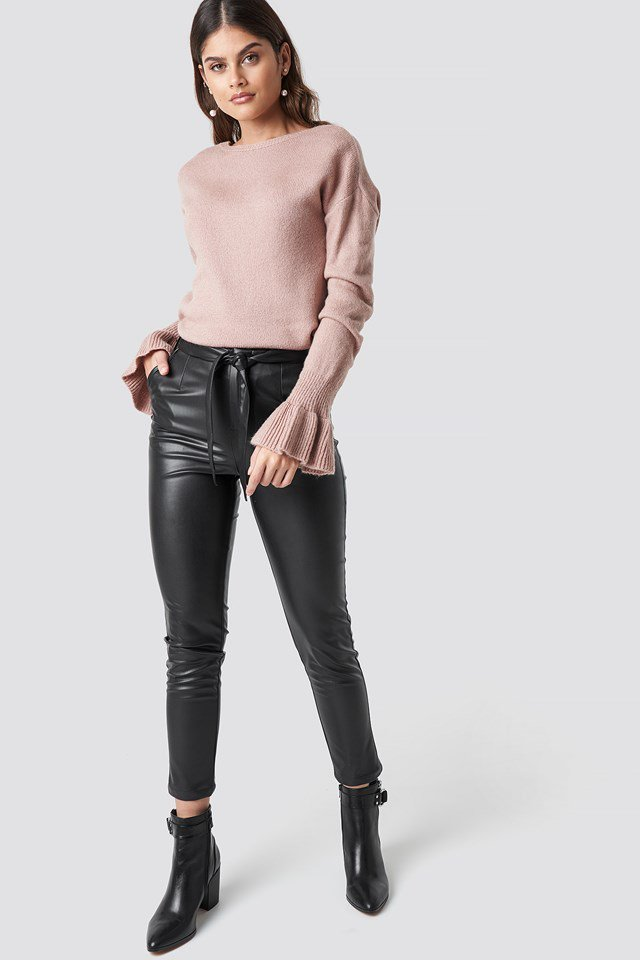 Pink back overlap sweater outfit