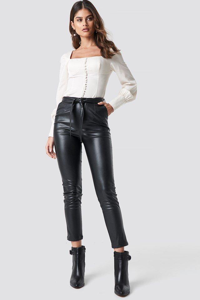 Black tie belt waist pants outfit