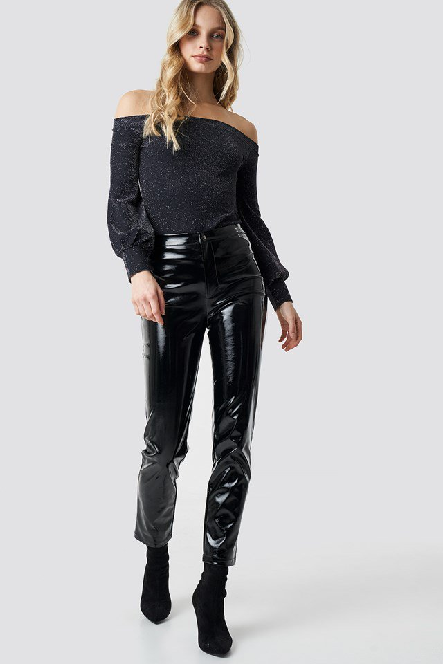 Glitter Top X Leather Outfit