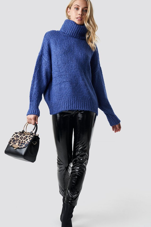 Folded High Neck Sweater Outfit
