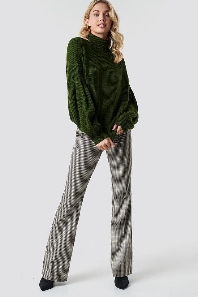Khaki Green Karbowany Golf Z Dzianiny