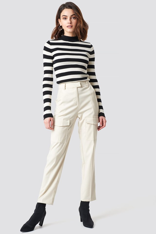 Patch Pocket Straight Pants Offwhite Outfit