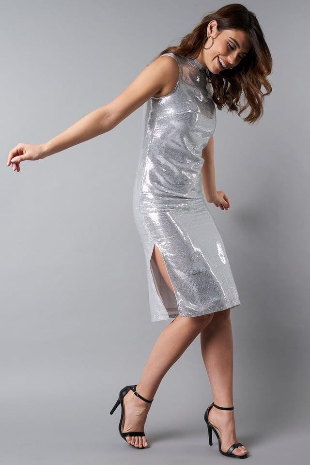 High Neck Side Slit Sequins Dress Silver Outfit