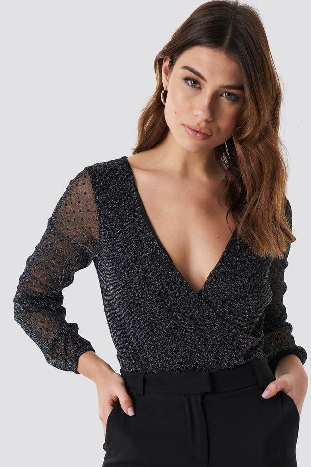 Deep V-Neck Glitter Top Black Outfit