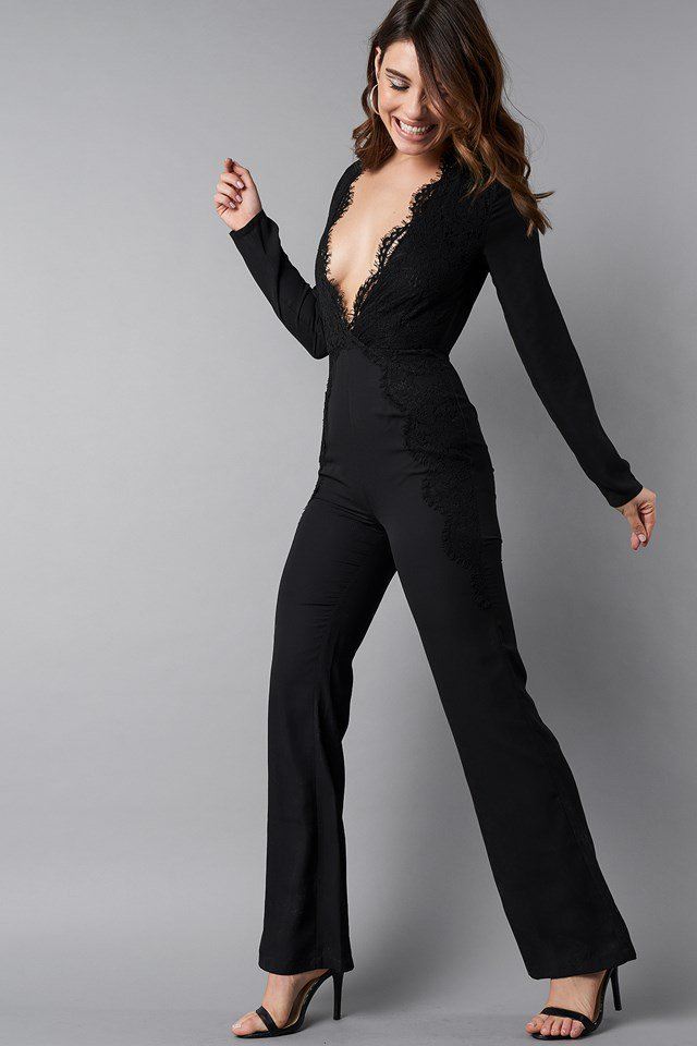 Deep V-Neck Lace Detail Jumpsuit Outfit