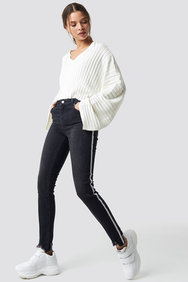 Ribbed Offwhite Sweater.