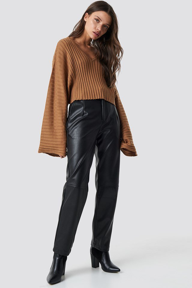 Ribbed Brown Sweater.
