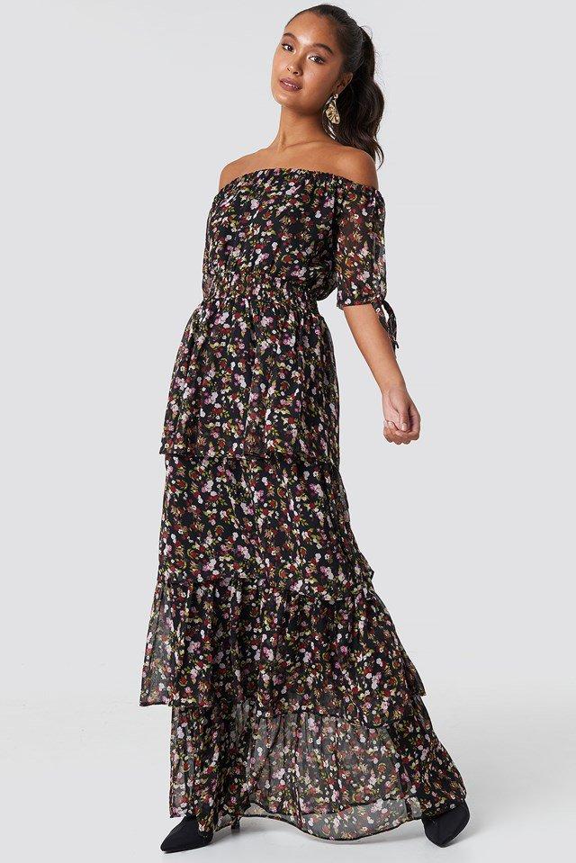 Multicolor Off Shoulder Maxi Dress.
