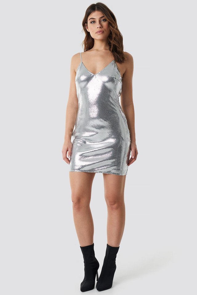 Silver Long Sleeve Sequin Dress