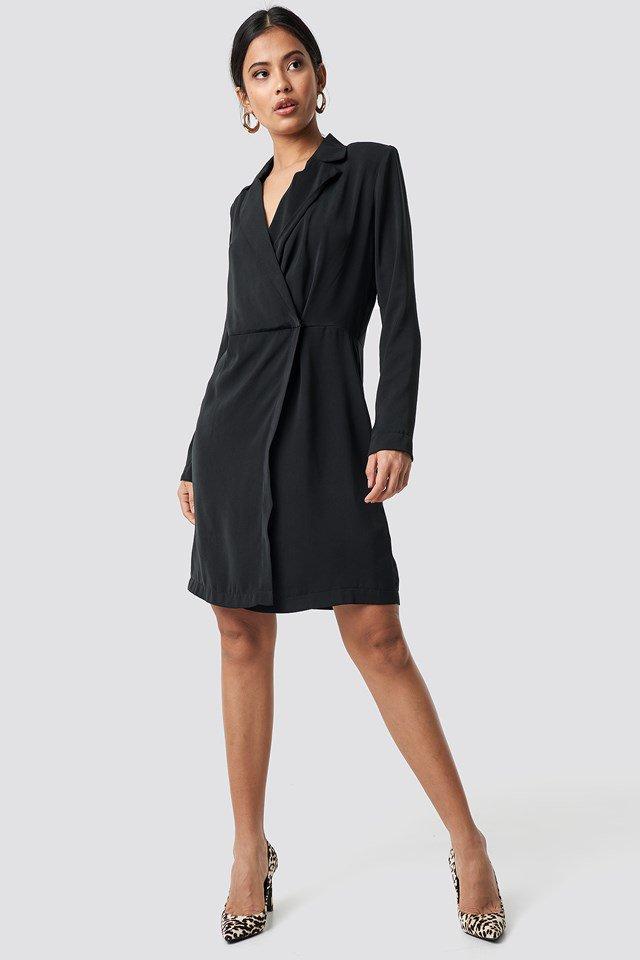 Black Collared Wrap Dress