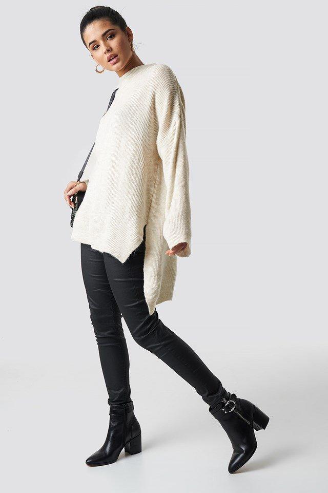 Black Overlap Back Slit Knitted Jumper