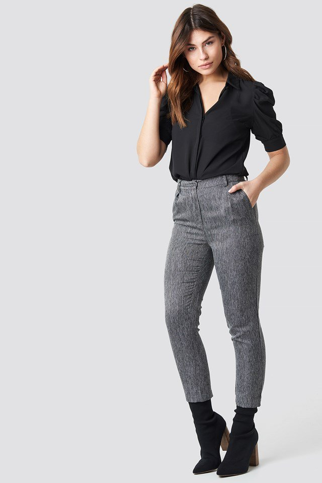 Light Grey Creased Wide Leg Pants