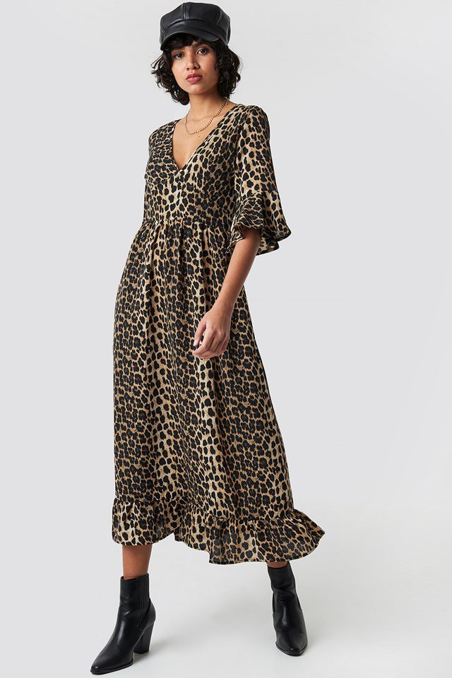 Leoprint High Frill Neck Dress