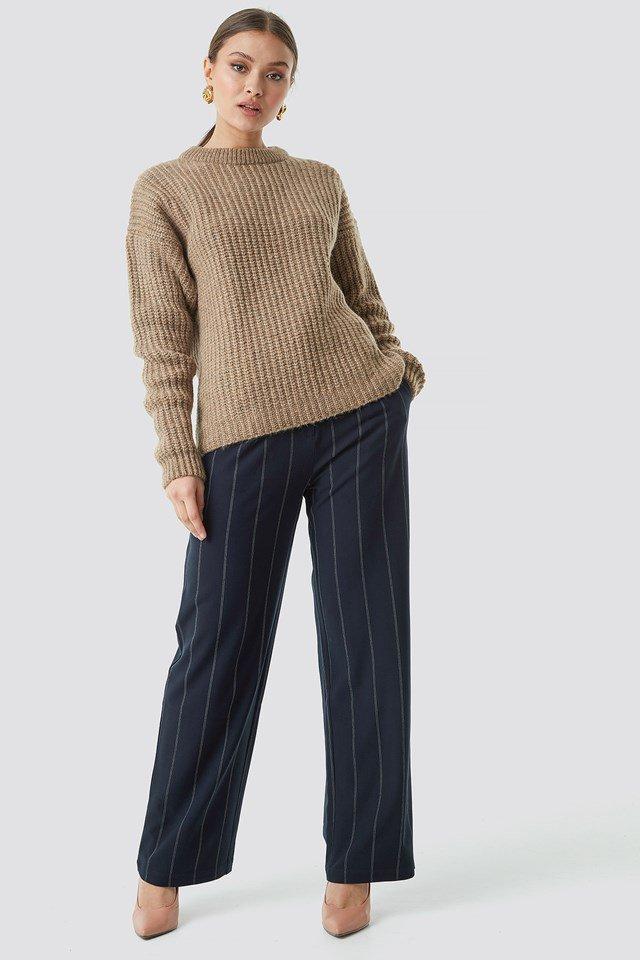 Beige Knit Sweater.