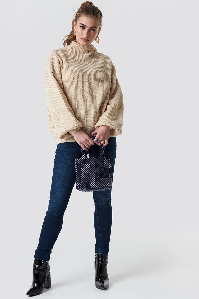 Beige Knitted Sweater.