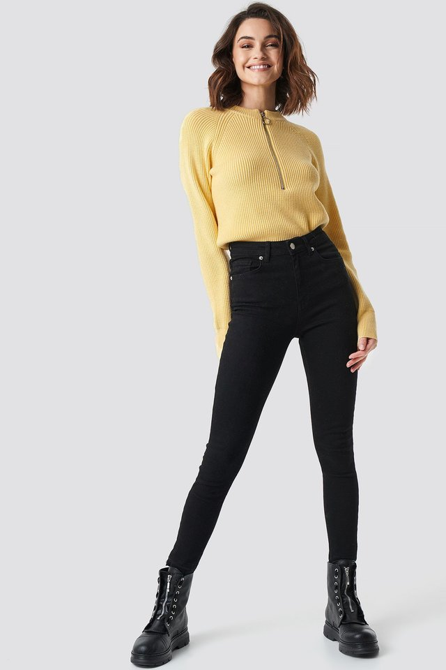 Zipper Front Sweater Outfit