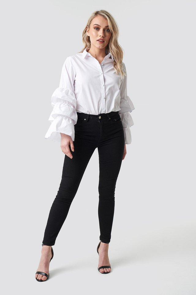 Frill Sleeve Shirt Outfit