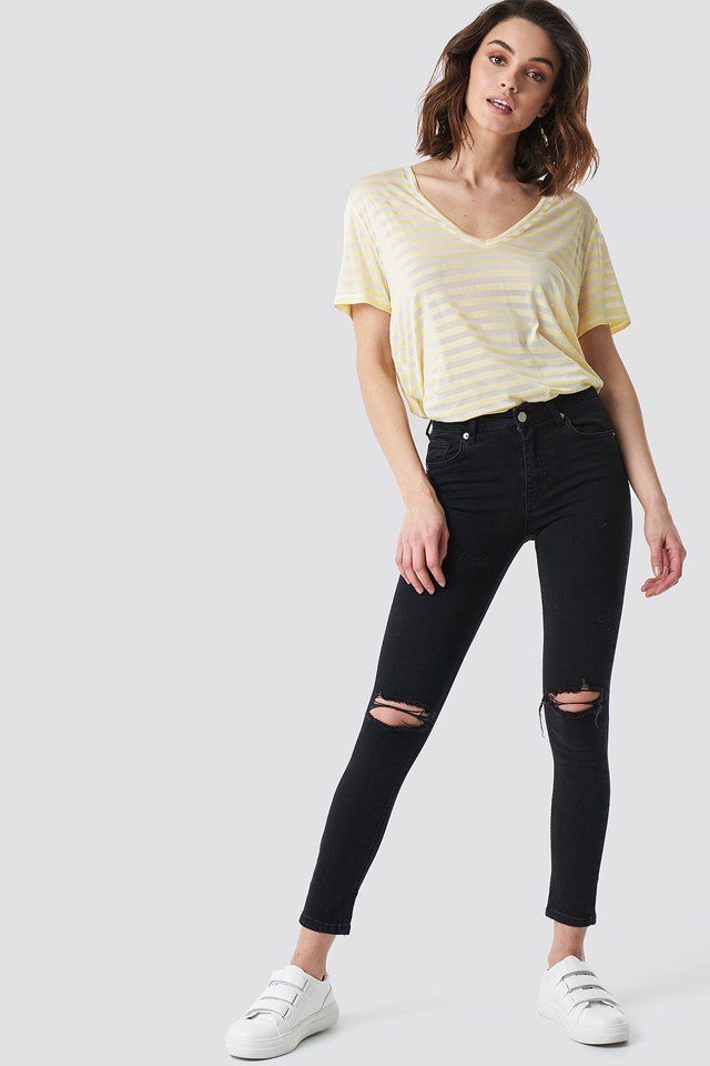 Yellow Basic Oversize T-Shirt