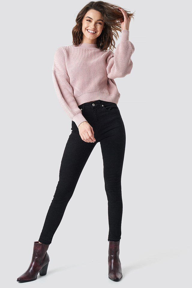 Pink Knitted Sweater Outfit