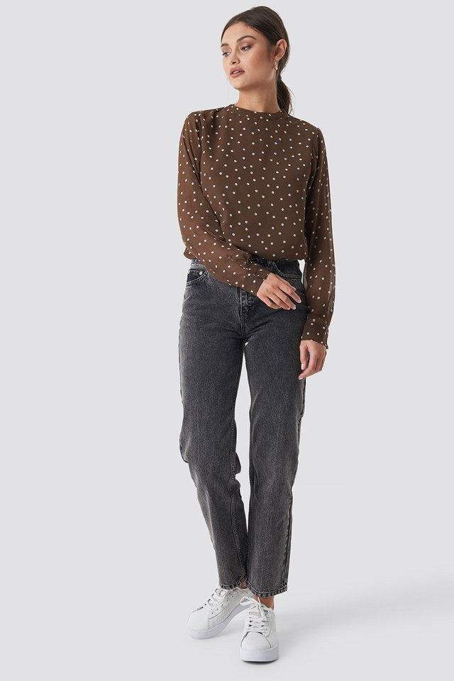 Dotted chiffon top outfit