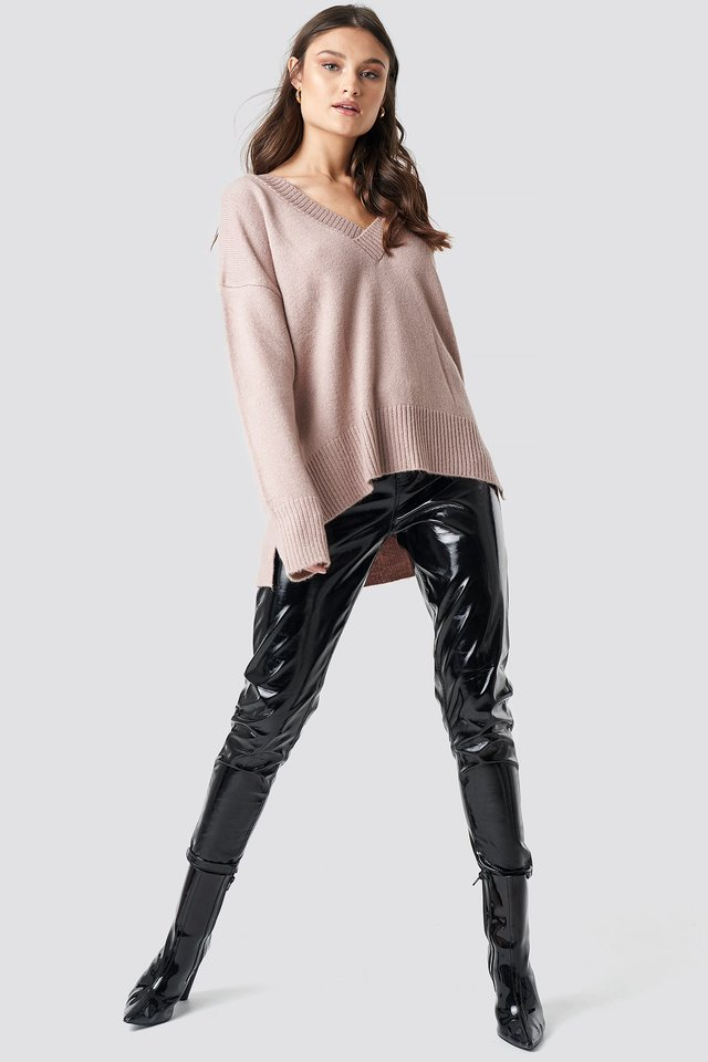 Pink V-neck Oversized Sweater.