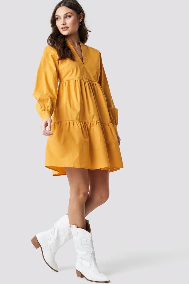 V-Neck Volume Sleeve Dress