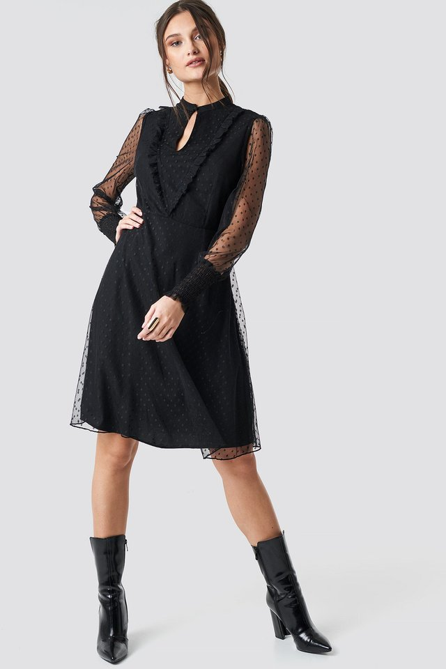 Shirred Cuff Dot Dress Outfit