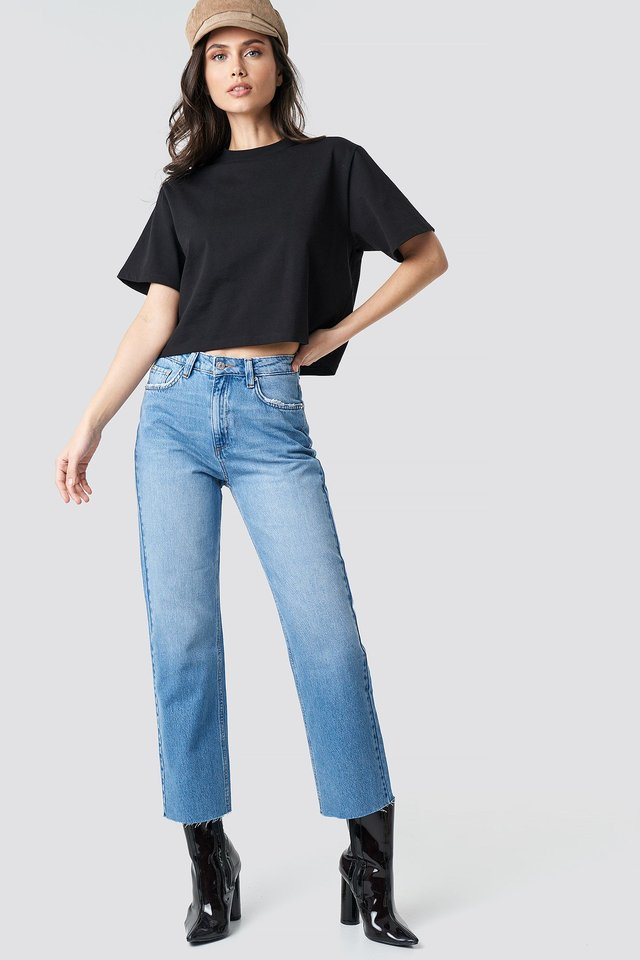 Raw Hem Straight Jeans Outfit