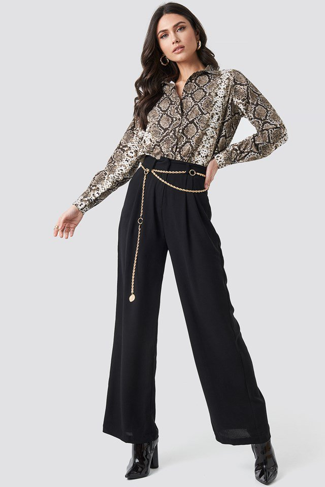 Snake Printed Cotton Shirt Brown Outfit